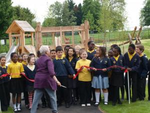 Cllr Ann Kingsbury, Chair of  Brockwell Park Community Partners, opens the restored Playground in May 2012