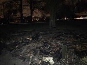 Arson destroys public shelter